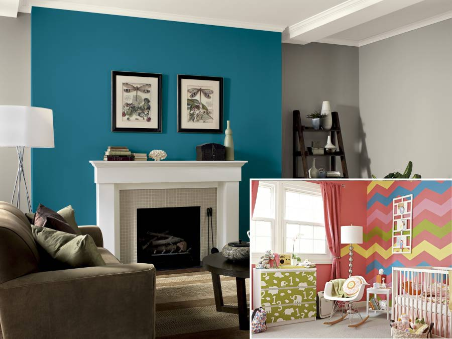 5 tips to consider when using multiple colors when for Paint color ideas for living room accent wall
