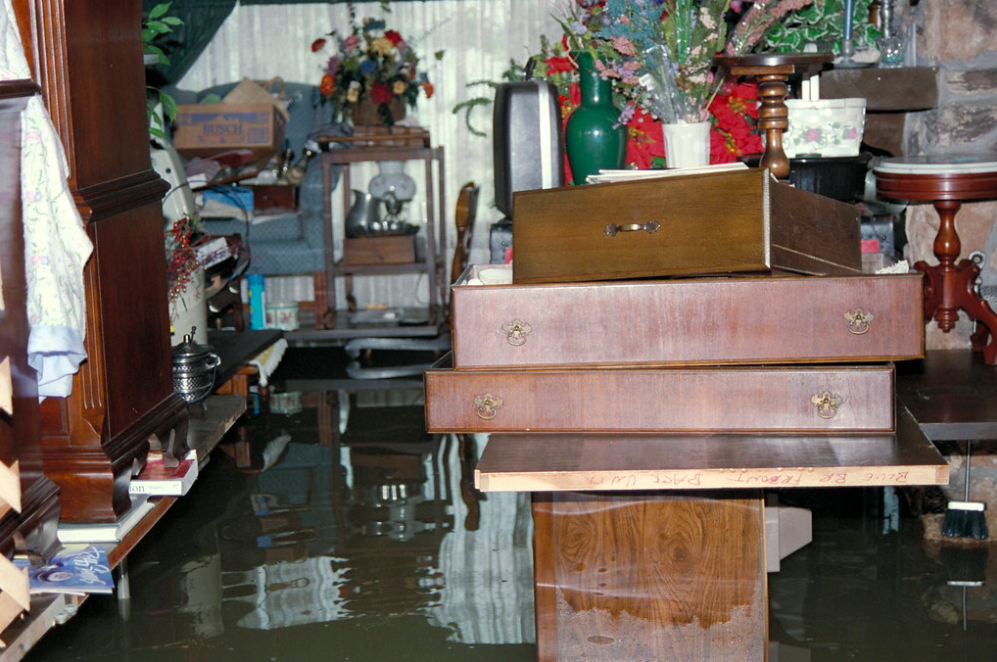 flooded room with wet furniture